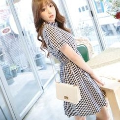 Angel Shine - Frill Collar Gingham Short-Sleeve Dress