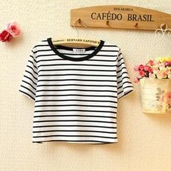 Munai - Short-Sleeve Striped Cropped T-Shirt