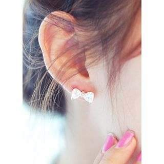 kitsch island - Crystal Bow Stud Earrings