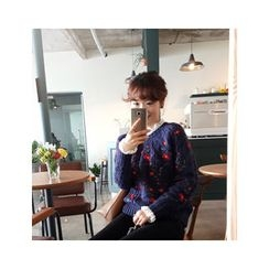 LEELIN - Embroidered Cable-Knit Top