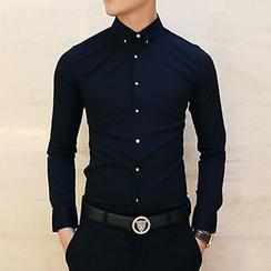 Besto - Metal Button Long-Sleeve Shirt