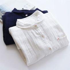 布丁坊 - 纯色长袖衬衫