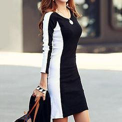 Rocho - Long Sleeves Panel Bodycon Dress