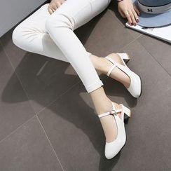 Megan - Patent Chunky-Heel Sandals