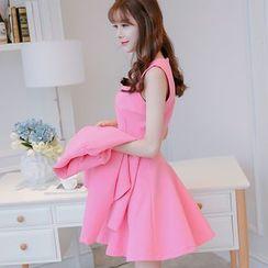 YUMU - Set: Plain Blazer + Sleeveless A-line Dress