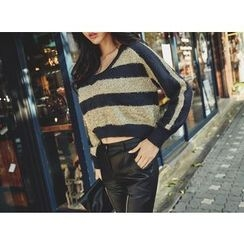 UUZONE - Glitter Striped Sweater