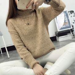 lilygirl - 實拍2016韓版半高領純色百搭套頭加厚中長款毛衣