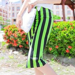 Xiaowei - Band-Waist Striped Midi Skirt