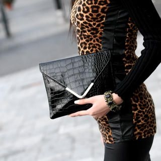 59 Seconds - Croc-Grain Envelope Clutch