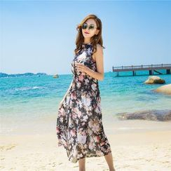 Angel Shine - Floral Print Sleeveless Midi Sundress