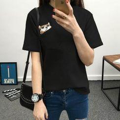 XGZ - 猫刺绣圆领T恤