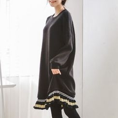 JUSTONE - Contrast Frill-Hem Knit Pullover Dress