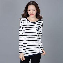 Eloqueen - Long-Sleeve Striped T-Shirt