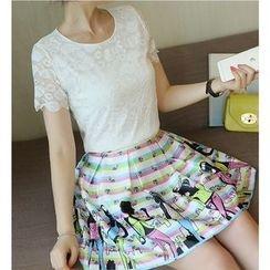 Eighoo - Set: Short Sleeve Lace Top + Print A-Line Skirt