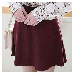 Sechuna - Band-Waist Mini A-Line Skirt