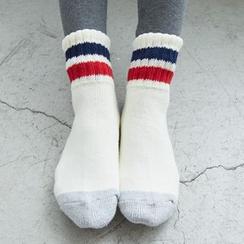 BAIMOMO - 條紋邊短襪