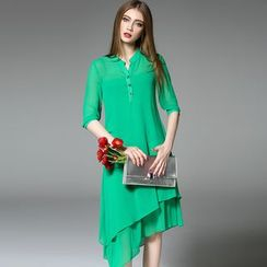 Y:Q - Plain Stand Collar Asymmetrical Shirtdress