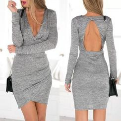 Saranghae - Cutout Back Deep Plunge Bodycon Dress