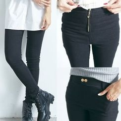 BAIMOMO - High-Waist Skinny Pants