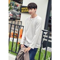 GERIO - Open-Placket Long-Sleeve T-Shirt