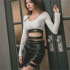 clubber - Faux-Leather Cut-Out Detailed Skirt