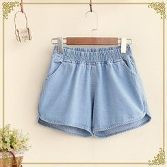 Fairyland - Elastic Waist Denim Shorts