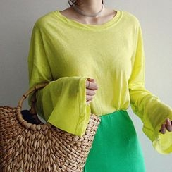 NANING9 - Long-Sleeve Sheer Linen Blend T-Shirt