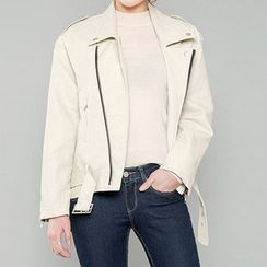 chuu - Diagonal-Zip Faux-Leather Rider Jacket