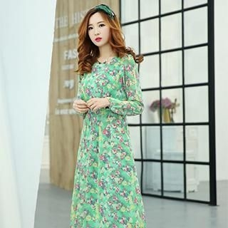 Mooiee - Long-Sleeve Floral Chiffon Midi Dress