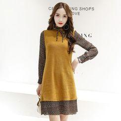 Romantica - Long-Sleeve Chiffon Panel Dress