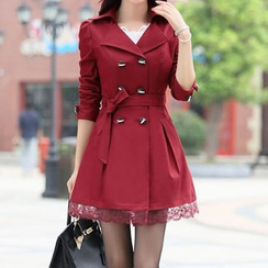 Donnae - Lace Hem Trench Coat