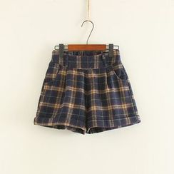 Mushi - Woolen Plaid Shorts