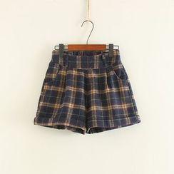 三木社 - 羊毛格紋短褲