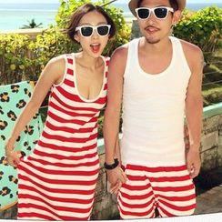 Honey Lemon - 条纹背心裙/套装:背心 + 短裤 / 条纹短裤