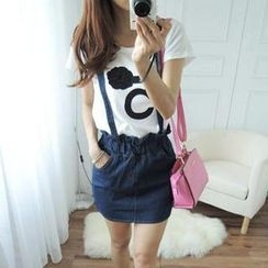 CYNTHIA - Paperbag-Waist Denim Suspenders Skirt