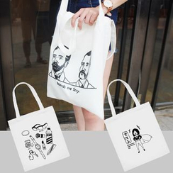 LightOn - Printed Canvas Shopper Bag