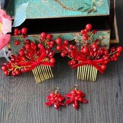 Neostar - Set : Embellished Hair Comb + Earrings