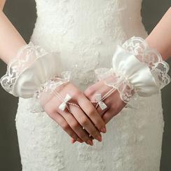 Neostar - Lace Bow Fingerless Gloves