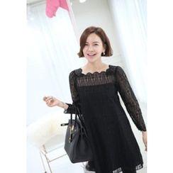 Lemite - Lace-Overlay Shift Dress