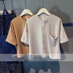 芷蓯夕 - 純色短袖雪紡上衣