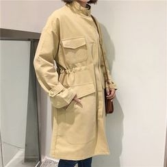 Bloombloom - Drawstring Waist Long Jacket