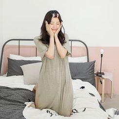 LOLOten - Pocket-Front Linen Blend T-Shirt Dress