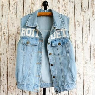 JVL - Printed Denim Vest