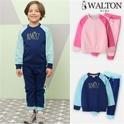 WALTON kids - Kids Set: Two-Tone Lettering Sweatshirt + Sweatpants