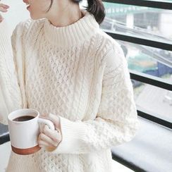 mimi&didi - Drop-Shoulder Wool Blend Knit Top