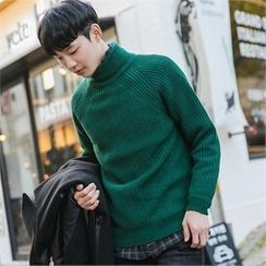 STYLEMAN - Turtle-Neck Ribbed Sweater