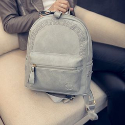 Youme - Embroidered Faux Leather Backpack
