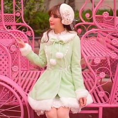 Candy Rain - Furry Trim Woolen Long Coat