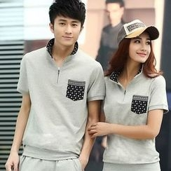 Lovebirds - Set: Short-Sleeve Couple Matching Top + Sweatpants