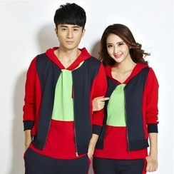 Lovebirds - Set: Short-Sleeve Color-Block Couple Matching T-Shirt + Zip Jacket + Sweatpants